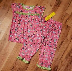 NWT Night Life Pink Kitty Cat Girls Pajamas